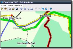 Screenshot z programu Cyklotrasy