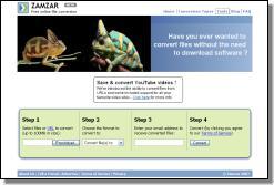 Screenshot webu Zamzar