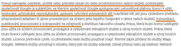 Google - smluvní podmínky